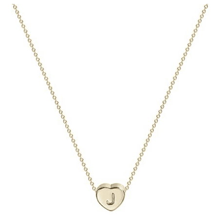 Tiny 14K Gold Initial Heart Necklace